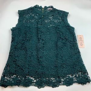 Nanette Lepore Green Crochet Lace Overlay Top